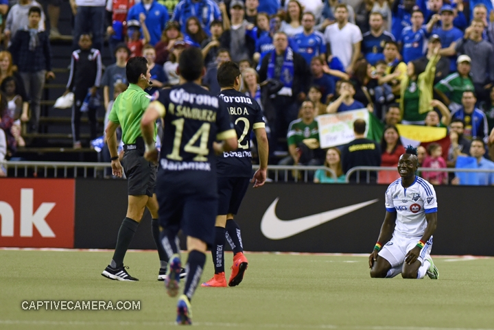 Montreal, Canada - April 29, 2015: Dominic Oduro appeals for a free kick after being fouled.