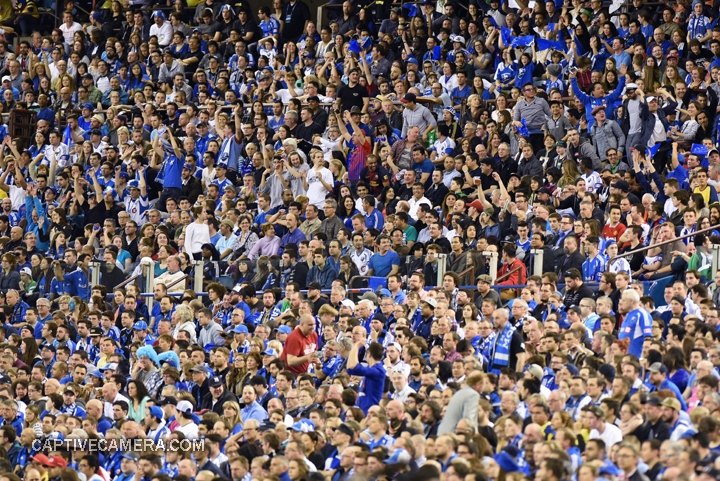 Montreal, Canada - April 29, 2015: A new record was set for soccer attendance in Canada by the 61000 fans at Olympic stadium.