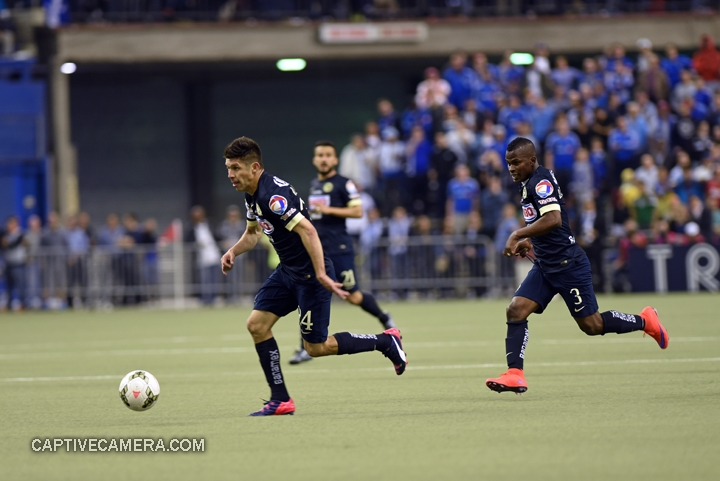Montreal, Canada - April 29, 2015: Oribe Peralta #24 and Darwin Quintero #3 of Club America launch an offensive attack.