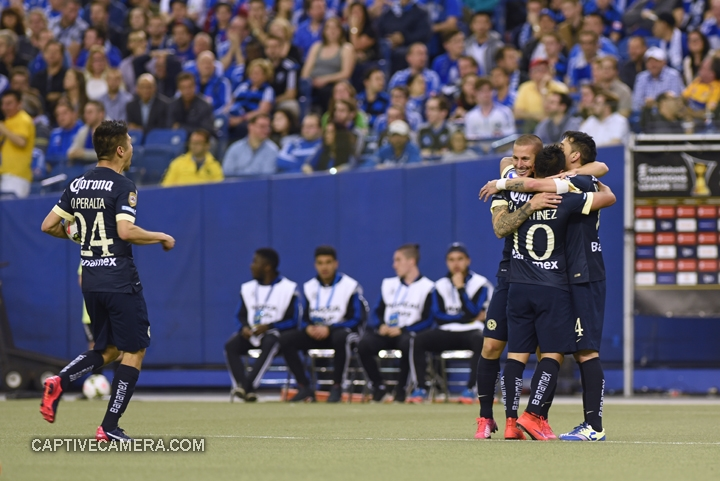 Montreal, Canada - April 29, 2015: Club America players celebrate the goal scored by Dario Benedetto in the 50th minute.