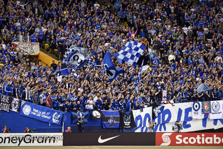 Montreal, Canada - April 29, 2015: The local supporters continue to encourage Montreal Impact.