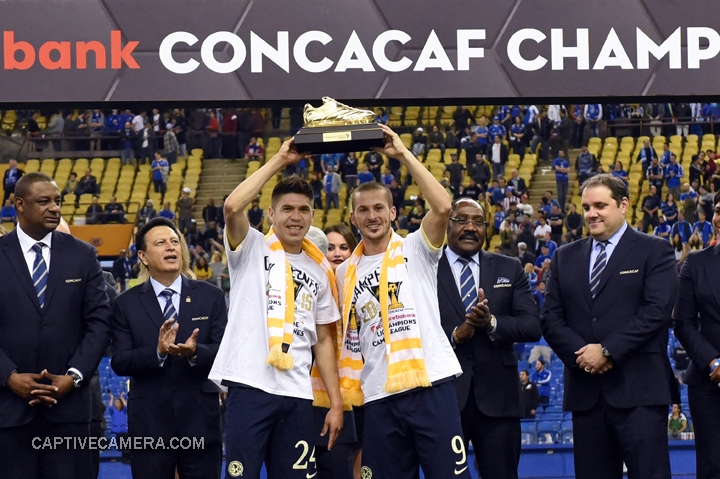 Montreal, Canada - April 29, 2015: Oribe Peralta #24 and Dario Benedetto #9 of Club America scored 7 goals each during the 2014-15 CONCACAF Champions League to share the golden boot award.