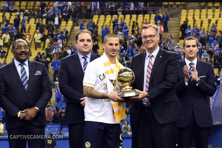 Montreal, Canada - April 29, 2015: Dario Benedetto #9 of Club America was awarded the Golden Ball after his remarkable 7 goal production within 3 games.
