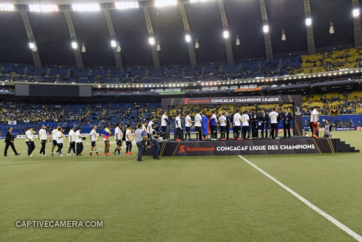 Montreal, Canada - April 29, 2015: Club America players and staff receive their gold medals.