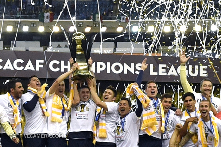 Montreal, Canada - April 29, 2015: Club America claim their first Scotiabank CONCACAF Champions League trophy.