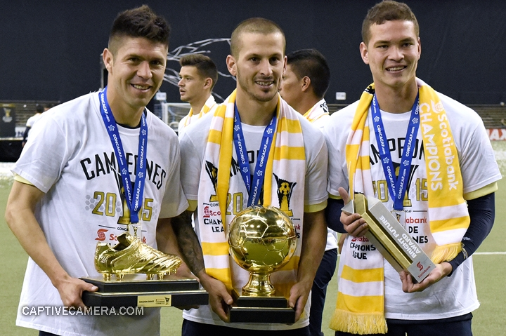 Montreal, Canada - April 29, 2015: Oribe Peralta , Dario Benedetto and Martin Zuniga of Club America display the Golden Boot, Golden Ball and Bright Future awards, respectively.