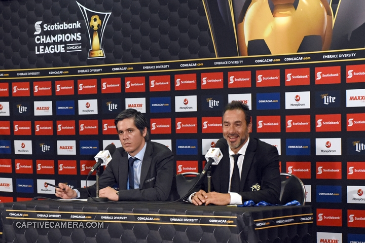 Montreal, Canada - April 29, 2015: Club America coach Gustavo Matosas offers a smile during the post game press conferenec at Olympic stadium, Montreal.