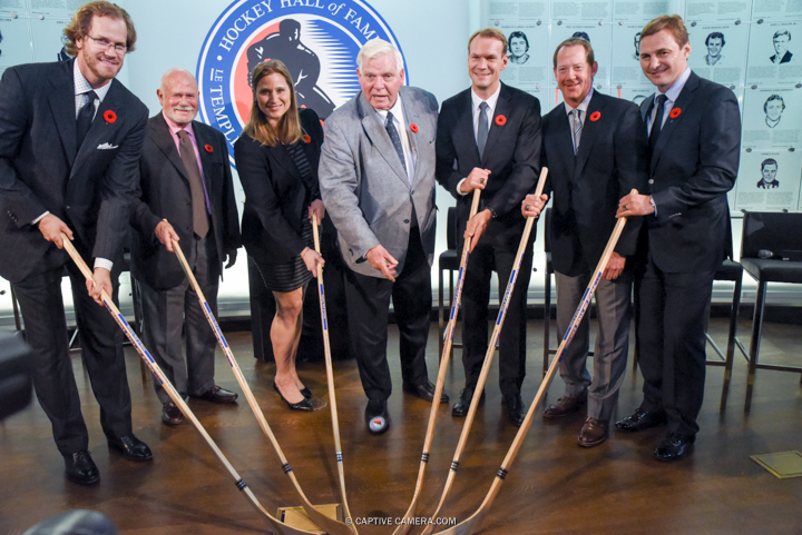 Nov. 6, 2015 (Toronto, ON) - Hockey Hall of Fame inductees (l-r) Chris Pronger, Peter Karmanos Jr., Angela Ruggiero, Bill Hays, Niklas Lidstrom, Phil Housley and Sergei Federov.