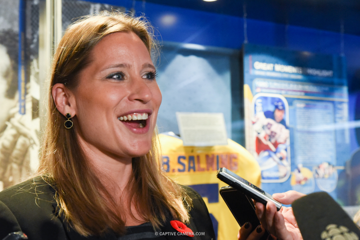 Nov. 6, 2015 (Toronto, ON) - Angela Ruggiero  interviewed by media at the  Hockey Hall of Fame induction ceremony.