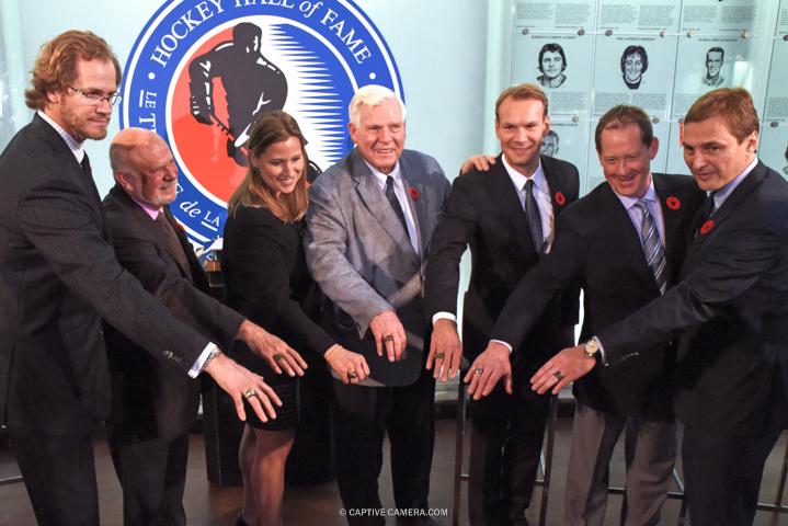 Nov. 6, 2015 (Toronto, ON) - Hockey Hall of Fame inductees demonstrate their rings (l-r) Chris Pronger, Peter Karmanos Jr., Angela Ruggiero, Bill Hays, Niklas Lidstrom, Phil Housley and Sergei Federov.