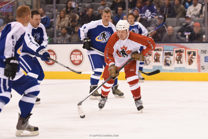 Nov. 8, 2015 (Toronto, ON) - Dino Ciccarelli of Team Canada evades opponents during the Haggar Hockey Hall of Fame Legends Classic at Air Canada Centre.