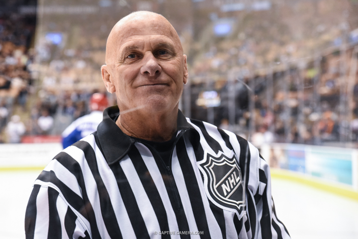Nov. 8, 2015 (Toronto, ON) - NHL referee Ray Scapinello during the Haggar Hockey Hall of Fame Legends Classic at Air Canada Centre.