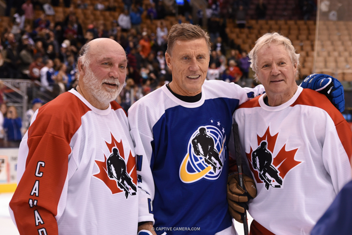 Nov. 8, 2015 (Toronto, ON) - Former Toronto Maple Leafs platers Tiger Williams, Borje Salming and Daryl Sittler during the Haggar Hockey Hall of Fame Legends Classic at Air Canada Centre.