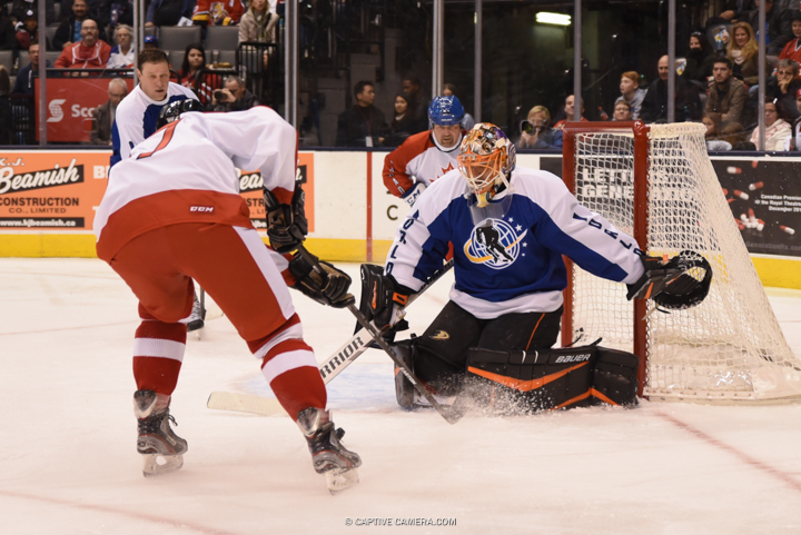 Nov. 8, 2015 (Toronto, ON) - Ilya Bryzgalov of Team Bure makes a save during the Haggar Hockey Hall of Fame Legends Classic at Air Canada Centre.
