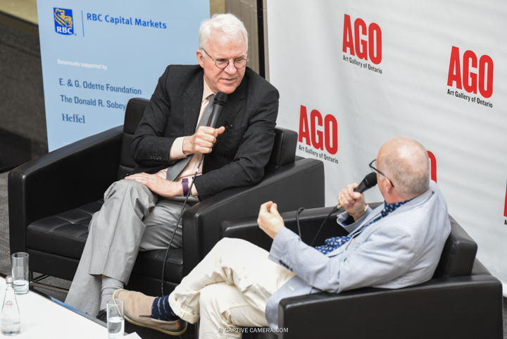 Toronto, Canada. 28th June, 2016. Comedian and actor Steve Martin in conversation with Art Gallery of Ontario curator Andrew Hunter to present The Idea of North: The Paintings of Lawren Harris, Toronto on June 28, 2016. © Jaime Espinoza / Captive Camera