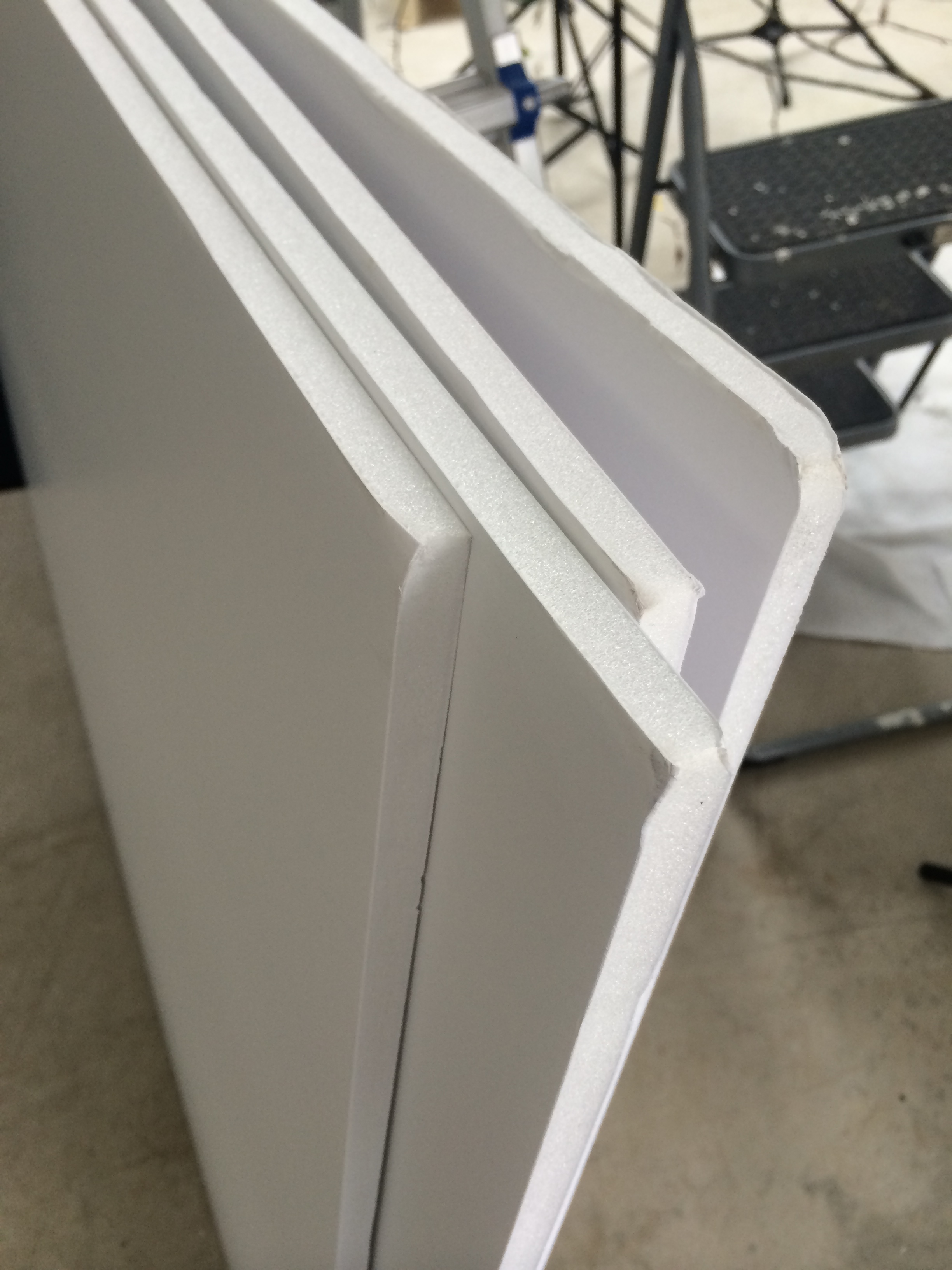 "1/2"" foam-core panels. Don't worry too much about the squished corners as they will be taped over, but you do need to be more careful with them than with more durable Gatorboard."