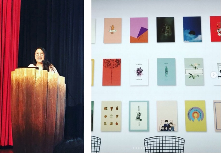 Grace Han's presentation began with her revealing her early need to make book covers as a student. She also talked about her preference for dimensional cut paper covers, her ever-evolving typography skills, and how she sometimes has to step away from the computer to create.  Grace  photos courtesy of Jess Morphew.