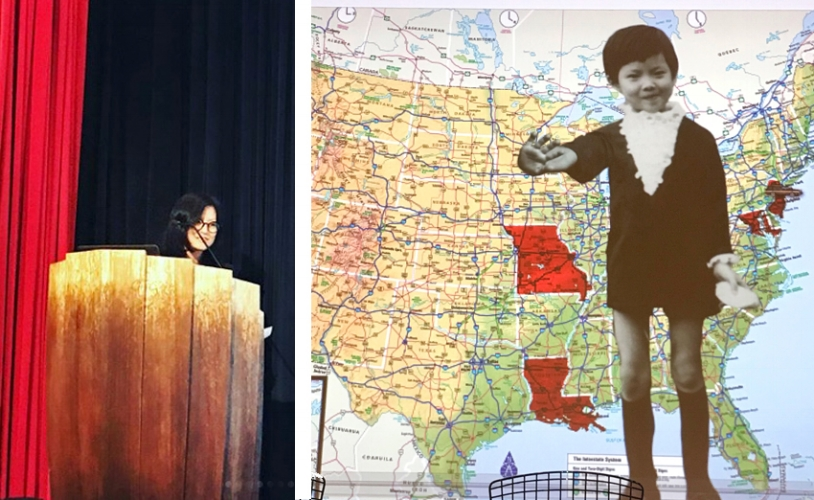 Ingsu Liu's presentation contained, animation,humor,and was built around her personal story. A story that has as much to do with immigration, breaking with family expectations, as it did with her formidable skills as mentor and art director.  Ingsu photo courtesy of Jess Morphew.  Map  p hoto courtesy of Nicole Caputo, She Designs Books