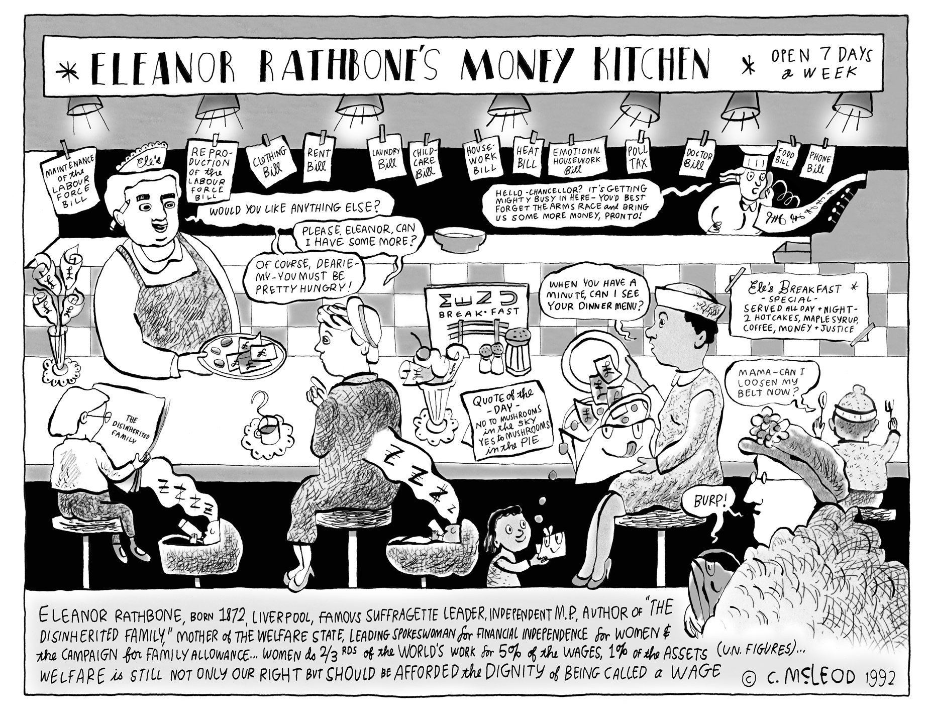 Eleanor Rathbone's Money Kitchen  Famous Women Eating Breakfast and soon to be re-published in Inking Women (Anthology of British Women Cartoonists)