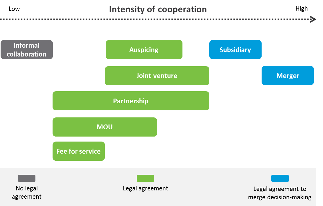 Figure 1: Options for working together with another organisation