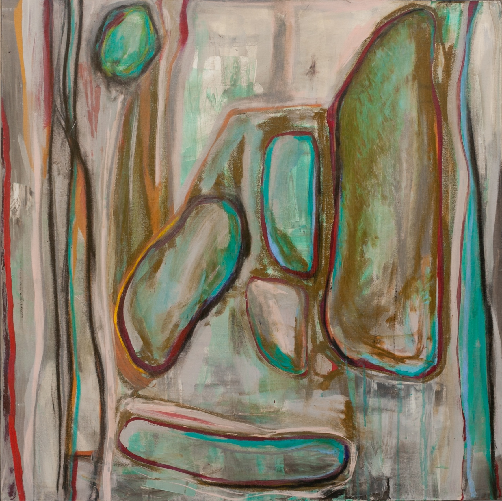 Beside Me  (SOLD)   3x3' Acrylic and oil stick ongallery wrapped canvas