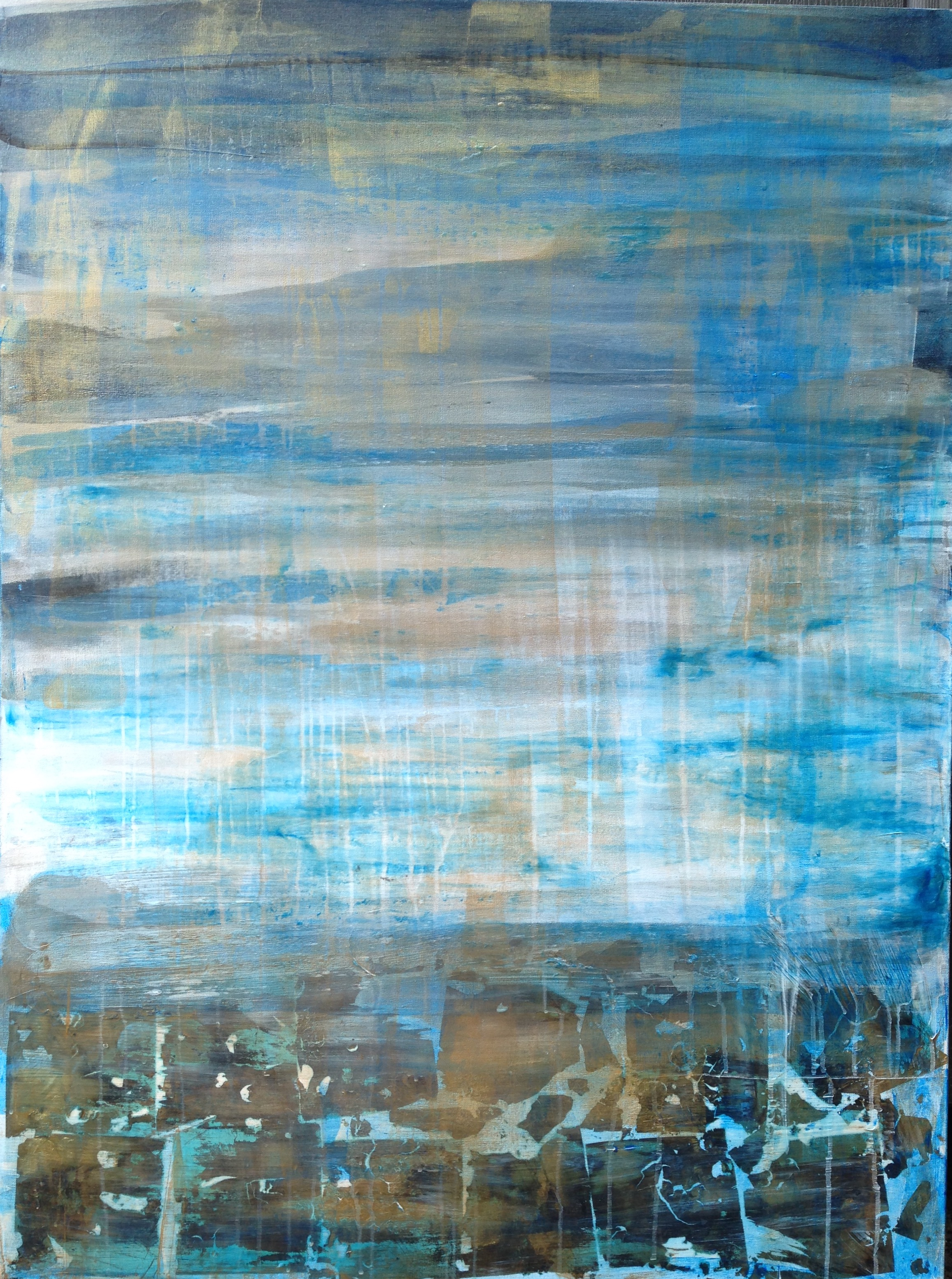 Sea Breeze  (SOLD)   3x4' Acrylic and gold leaf on gallery wrapped canvas