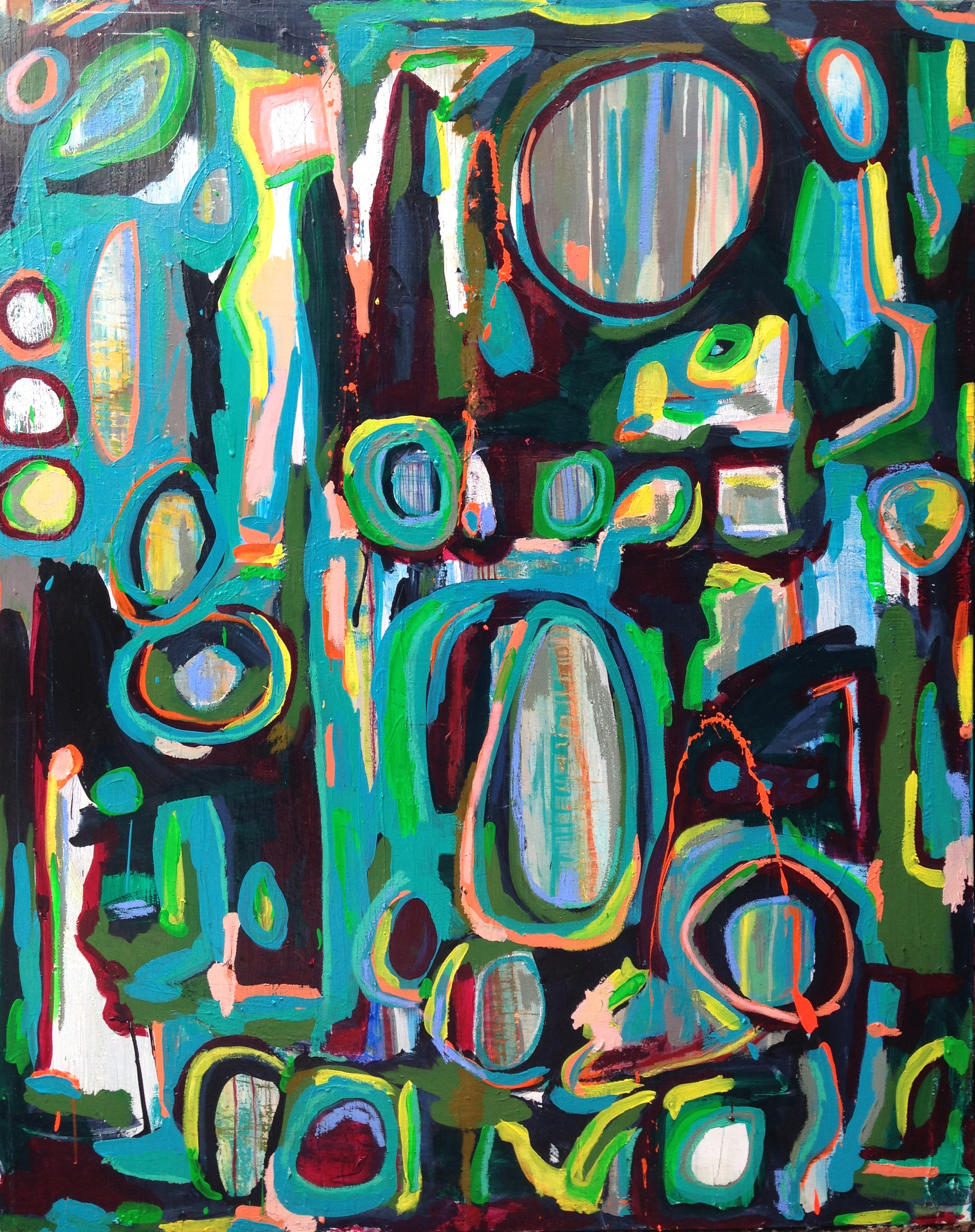 Sleepless Confusion  (SOLD)   4x5' Acrylic and Oil Stick on Gallery Wrapped Canvas