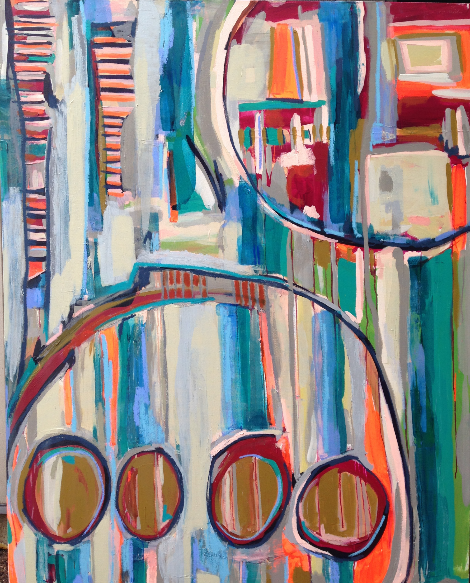 Get up and Go  (SOLD)   4x5' Acrylic and Oil Stick on Gallery Wrapped Canvas