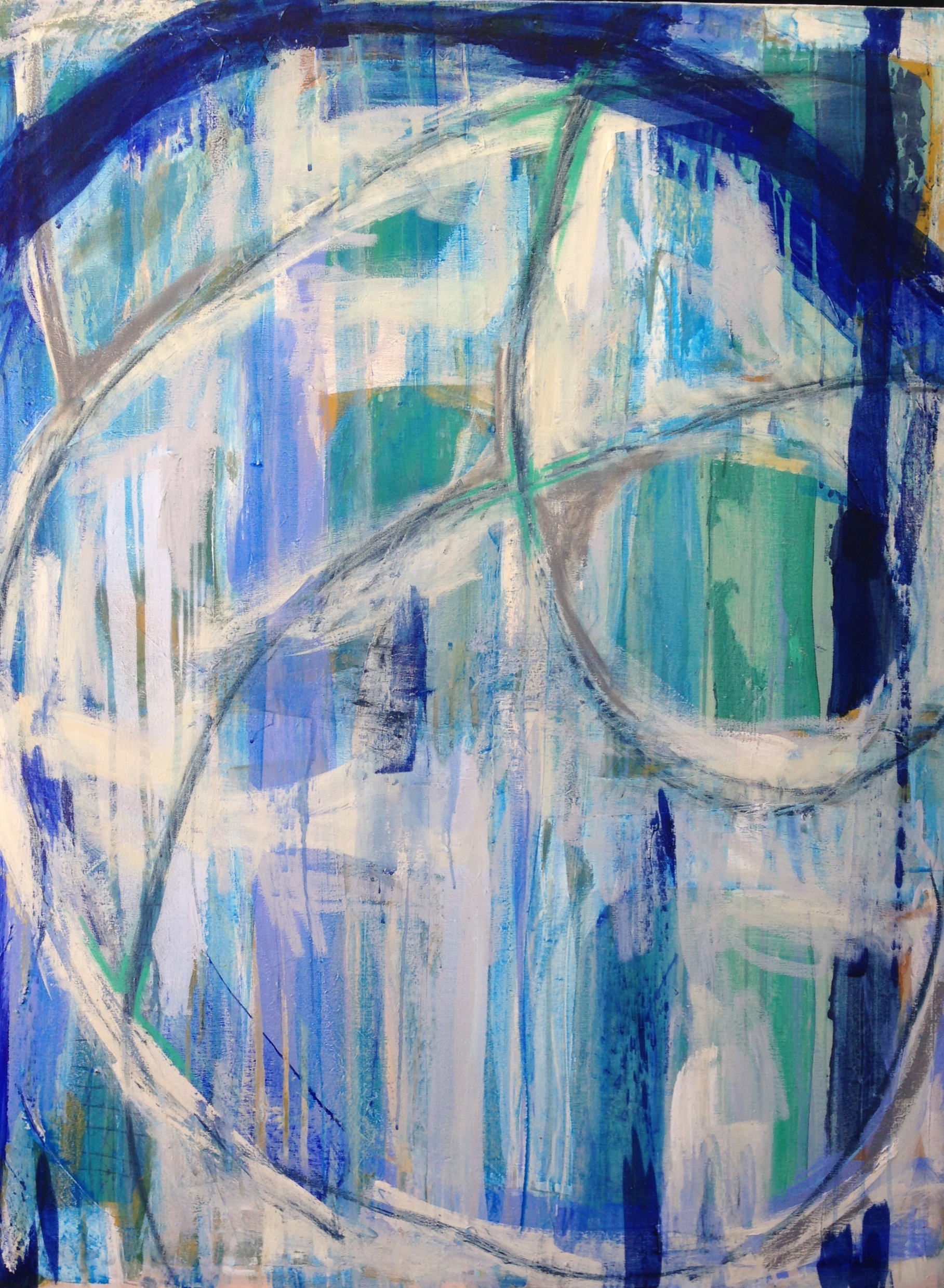 Rising Tide Series #3  (SOLD)   3x4' Acrylic and oil stick on gallery wrapped canvas