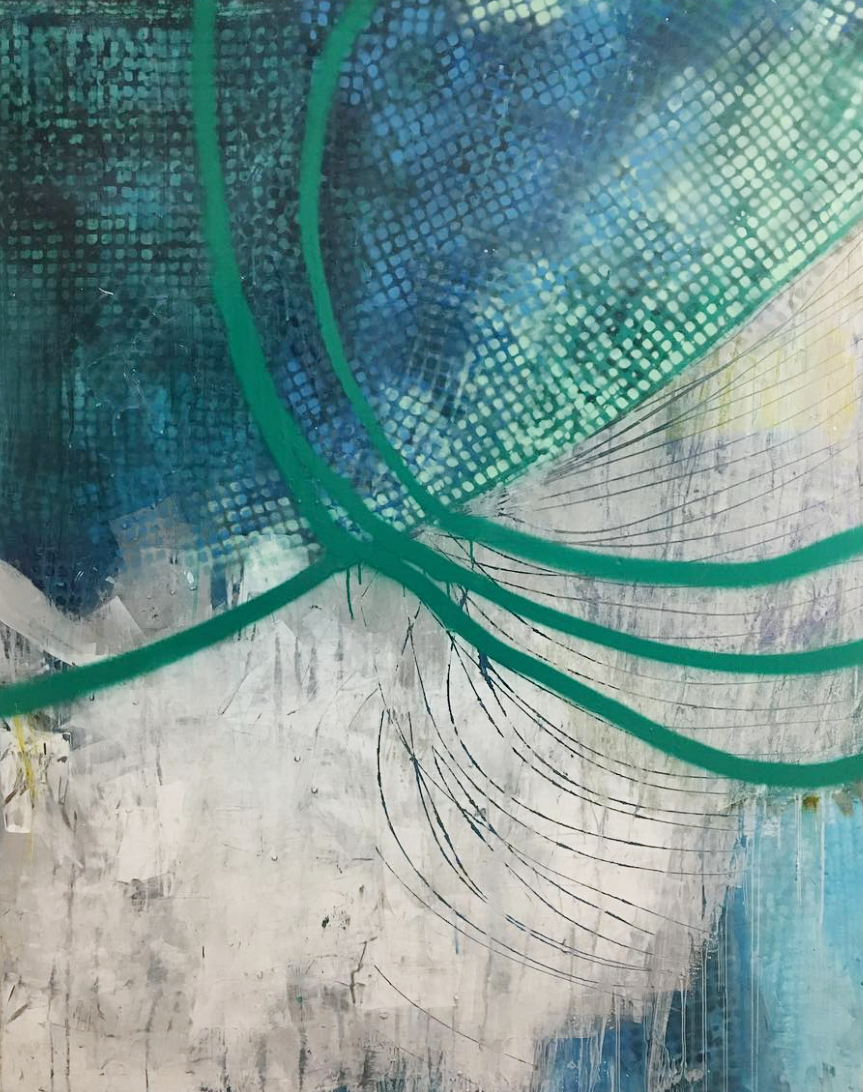 """Catching Rain  sold   48x60""""' Mixed Media on Canvas"""