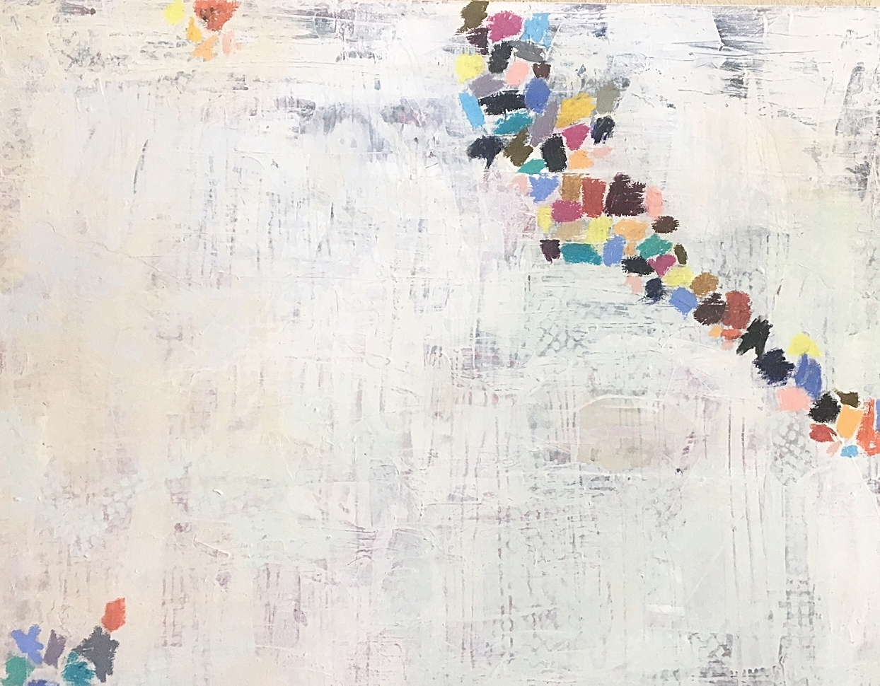 """Reaching (SOLD)  48x60"""" Acrylic and oil stick on canvas"""