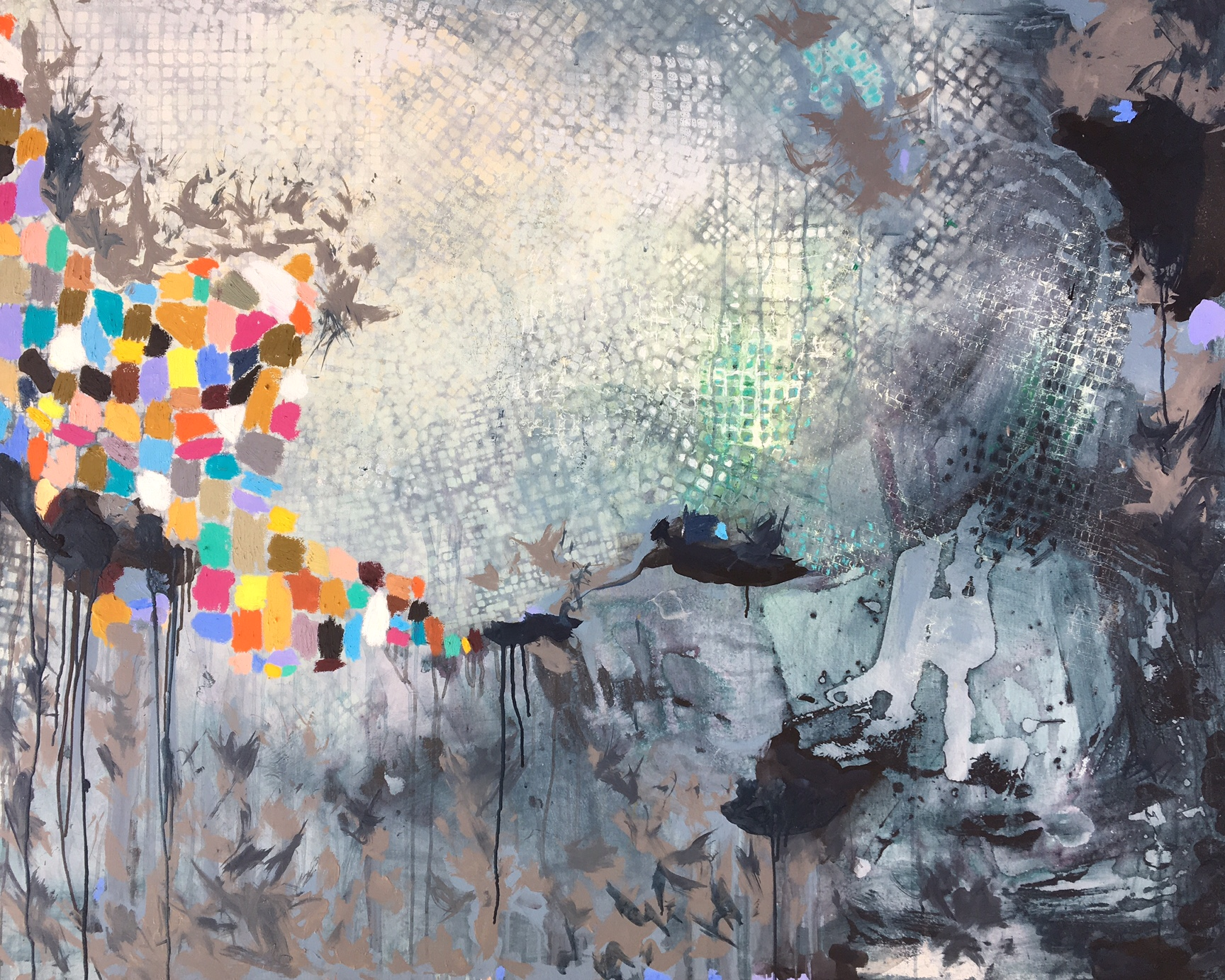 """Erudition (SOLD)  60x48"""""""" Acrylic, spray paint and oil stick on Canvas"""