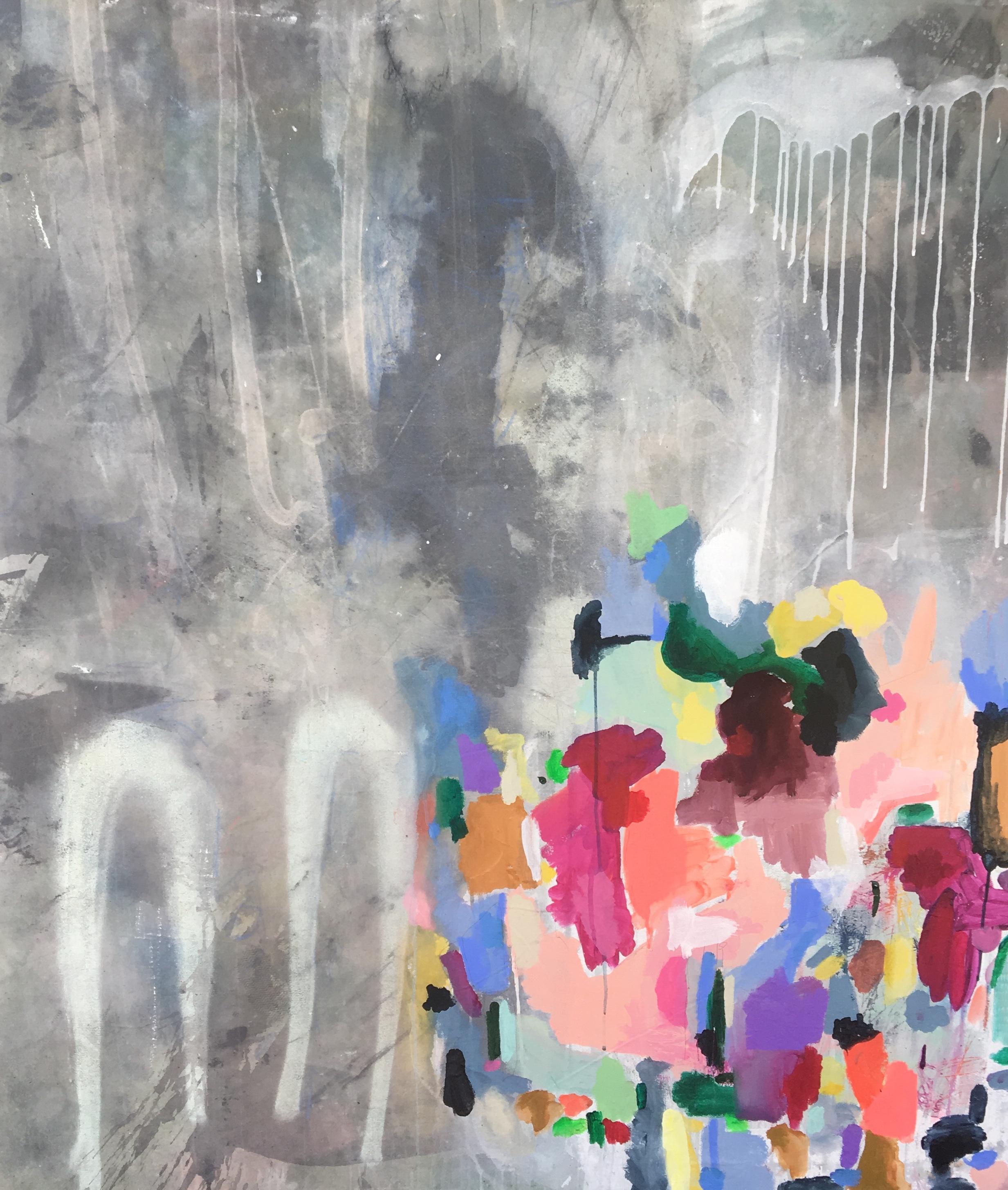 """Double Breath response""  52x58"" Mixed Media on Canvas"