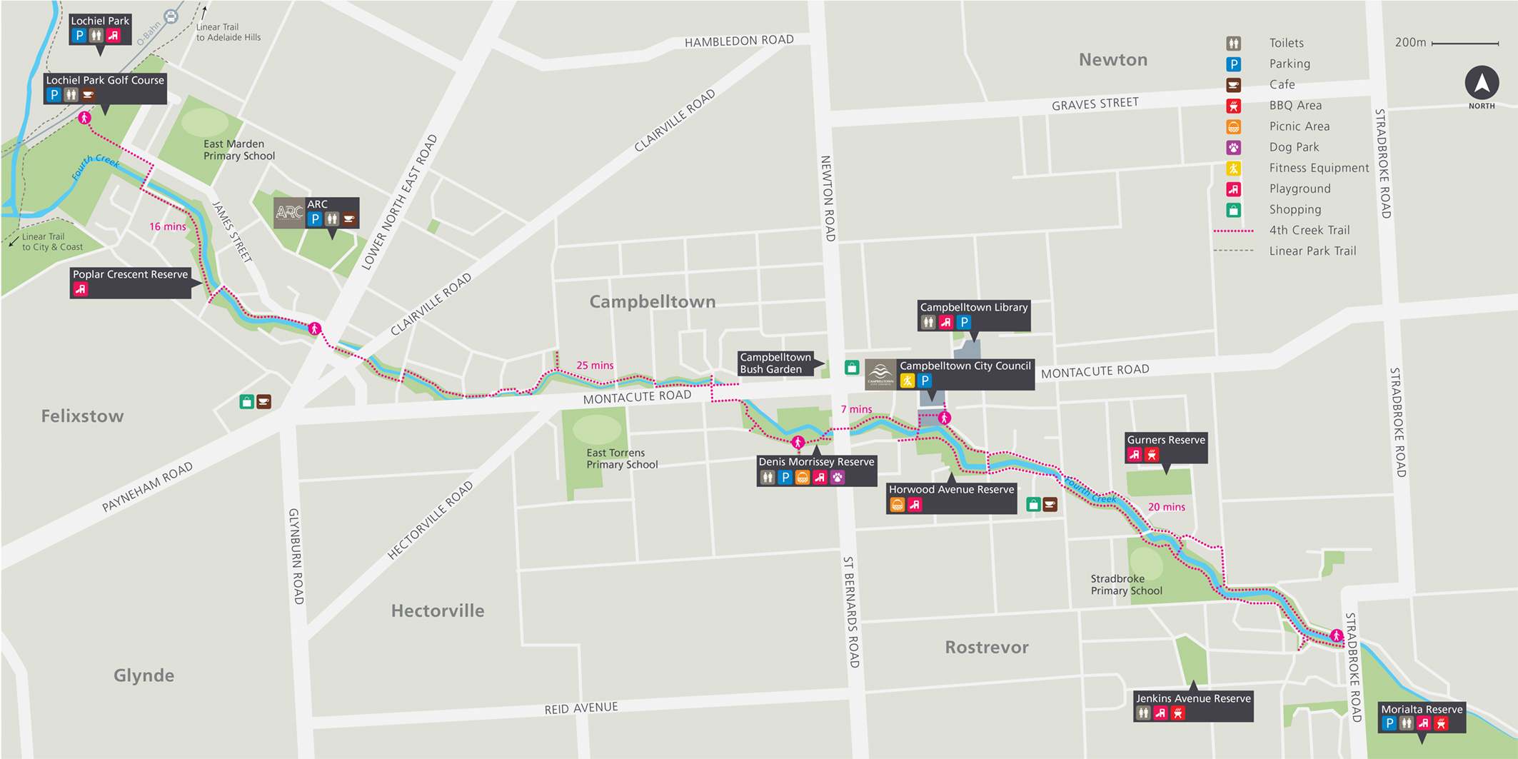 City of Campbelltown Fourth Creek Walking Trail Map