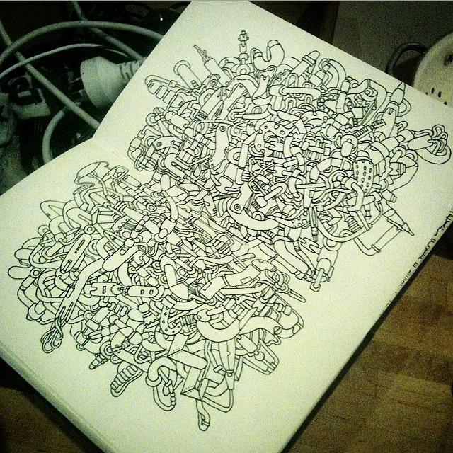 Working the shafts.  #shaftwork #cables #pipes #art #sketch #ink #illustration #drawing #doodle #moleskine #graffiti #sketch
