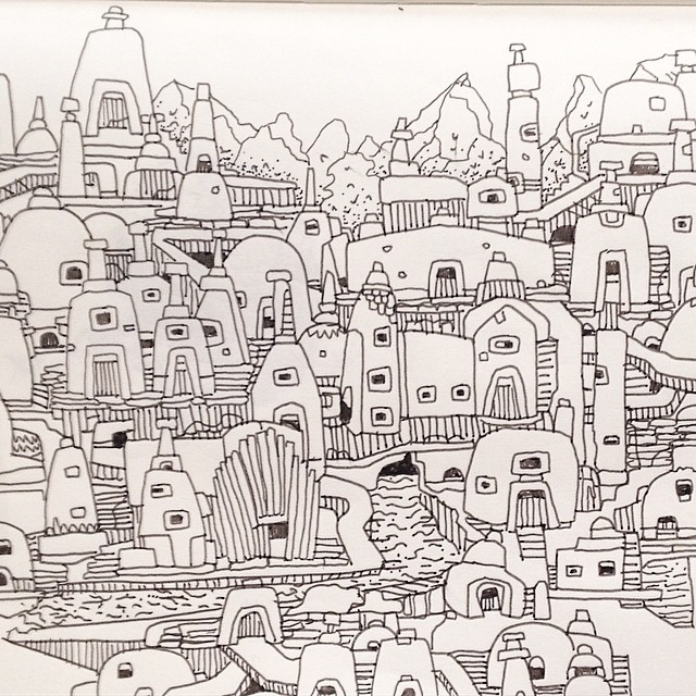 Detail from a drawing of old stupa town.  #moleskine #penandink #art #sketch #doodle #city #architecture #illustration #art #graffiti