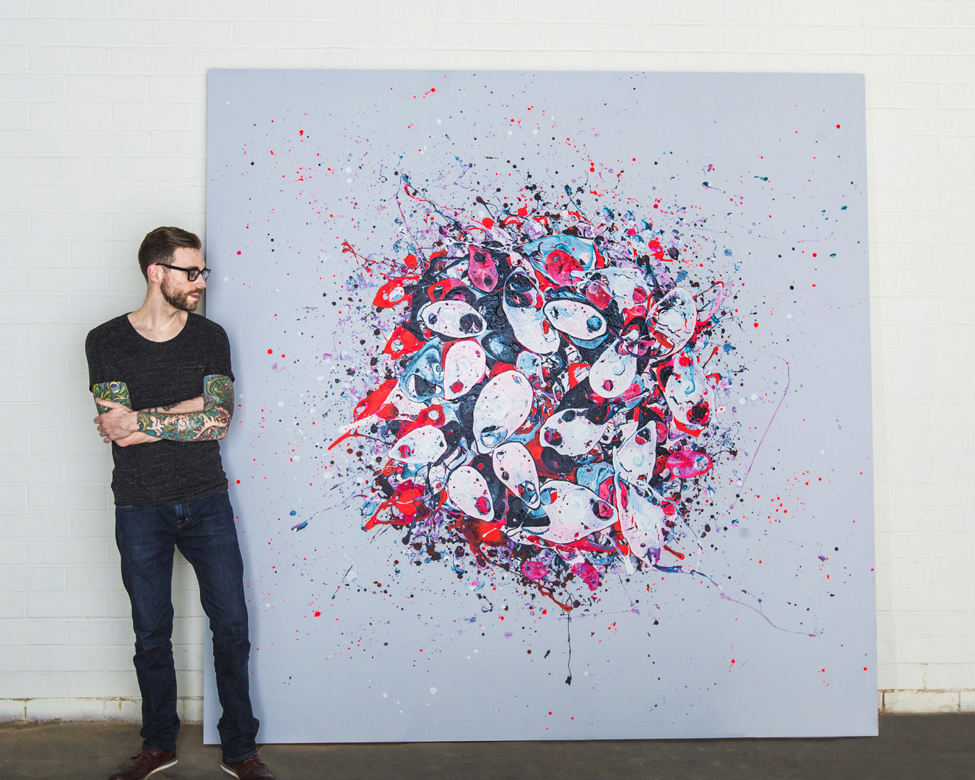 THE ARTIST AND   THE GLUE THAT HOLDS US TOGETHER  ACRYLIC & RESIN ON WOOD 96X96X3.5″; PHOTO BY KATHERINE KIRCHNER