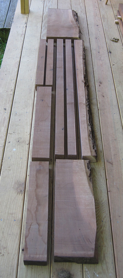 Chair parts milled from a walnut board
