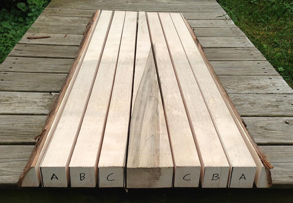 Rift sawn board cut into rear leg blanks. Each pair of legs is labeled.