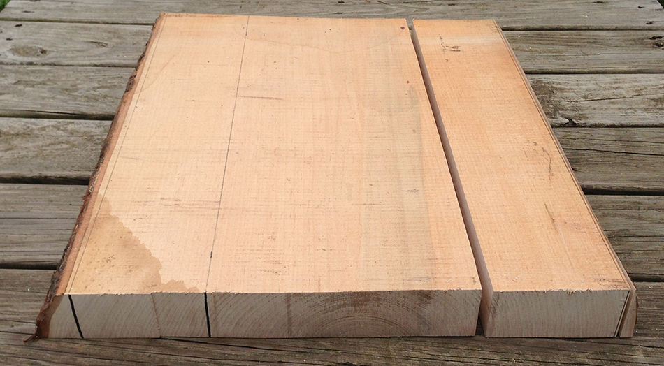 """A slat blank cut from a 22"""" long section of quarter sawn wood"""