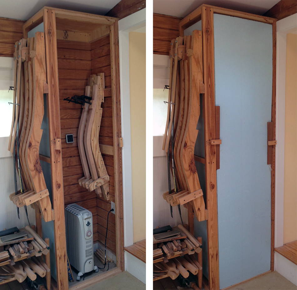 This small drying closet is heated with a portable, oil filled radiator.