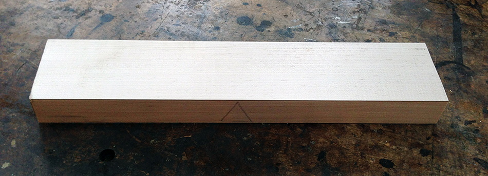 The slat blank, face jointed and edge jointed, is ready for resawing.