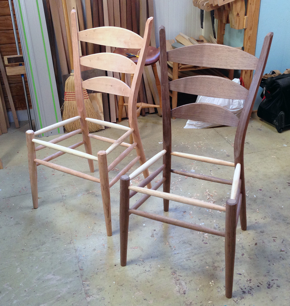 Side Chair Class, Day Five: The assembled chairs. Excellent work for students who never used a drawknife before this class