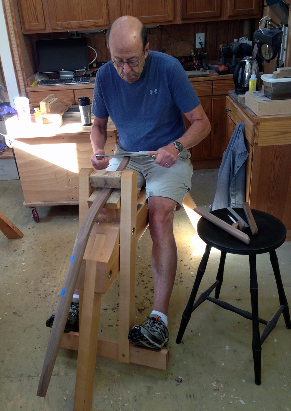 Side Chair Class, Day Five: David is shaping the top of the rear leg with a drawknife