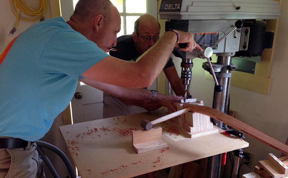 Side Chair Class, Day Five: Mark is drilling the middle side rung mortise into a rear leg