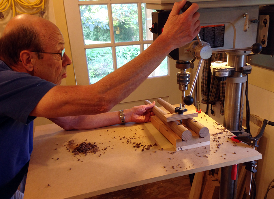Side Chair Class, Day Four: David is drilling the front rung mortises in the front legs