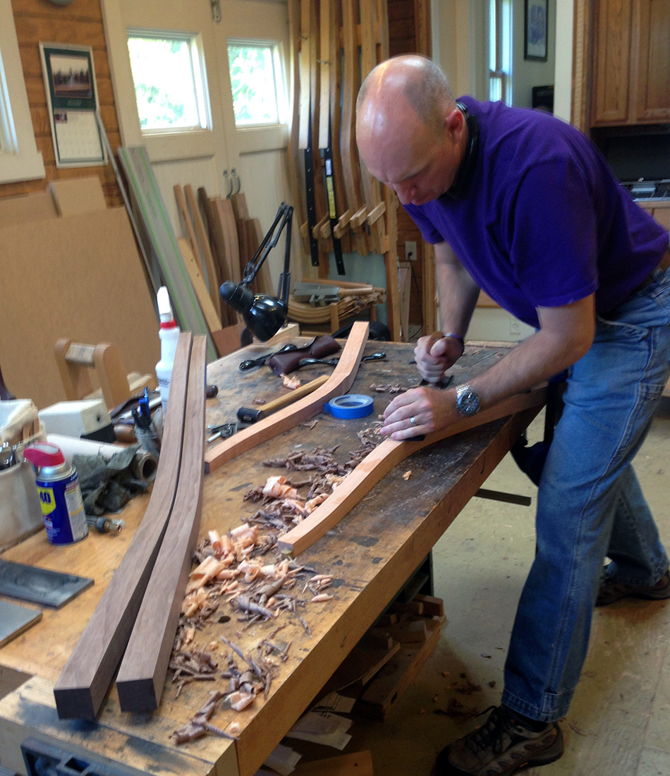 Side Chair Class, Day One: Planing the taper on the inside face of the rear leg