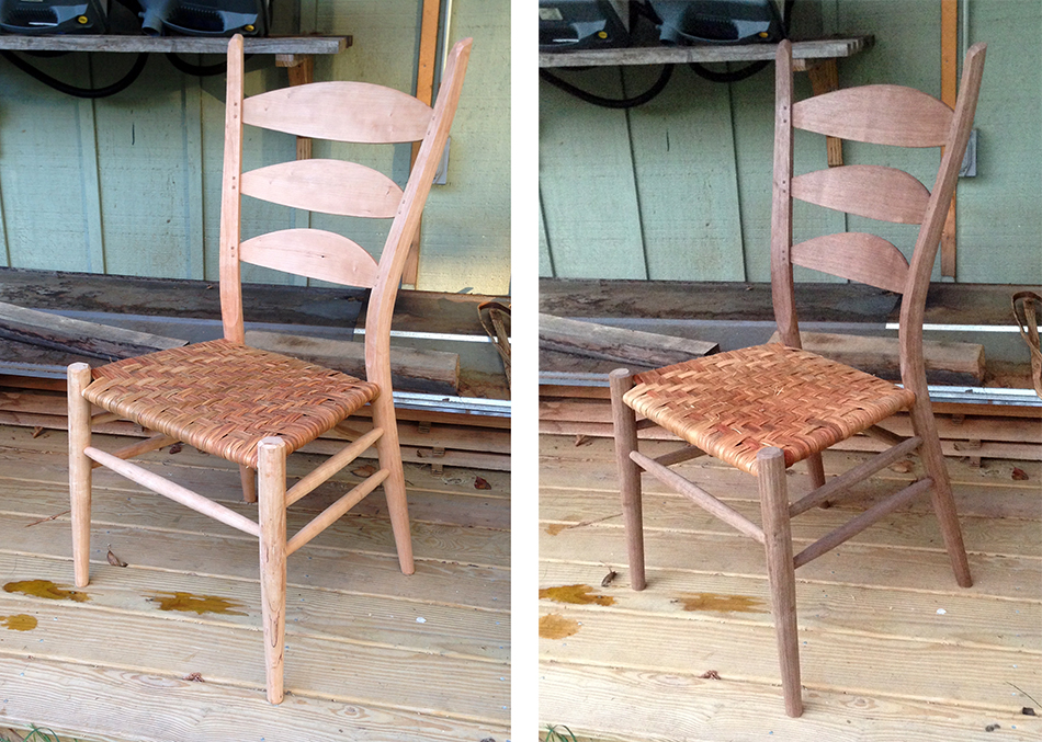 Side Chair Class, Day Six: The finished chairs. Excellent work for two woodworkers who never made a chair before taking this class