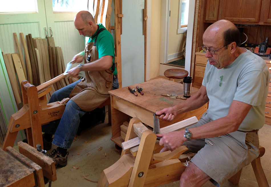 Side Chair Class, Day Three: Mark and David shape a practice front leg prior to working on their actual chair parts