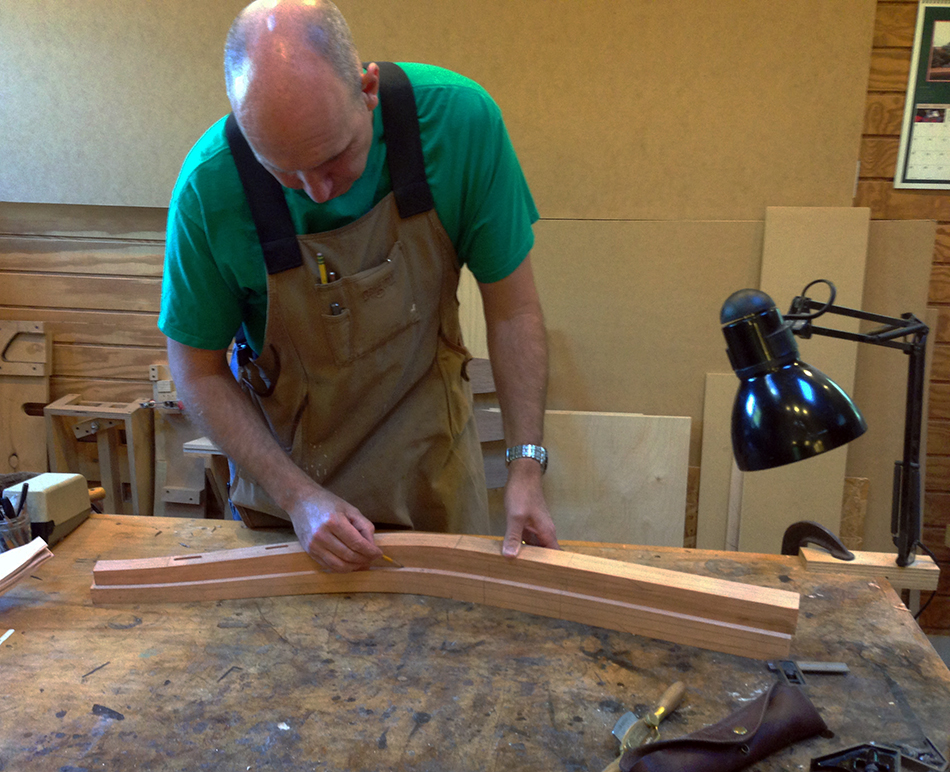 Side Chair Class, Day Three: Mark is laying out a curved, tapered facet on the side of a rear leg